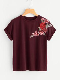 32743d4e2a01cb Flower Patch Cuffed Sleeve Tee Burgundy