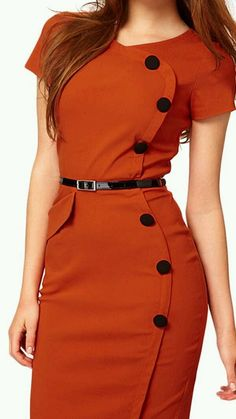 High Street Vestidos Gown V-Neck Knee-Length Button Women Work Wear Office Dress Bandage Casual Pencil Party Dresses Bodycon Outfits, Dress Outfits, Fashion Dresses, Beauty And Fashion, Work Fashion, Womens Fashion, Fashion News, Trendy Dresses, Dresses For Work