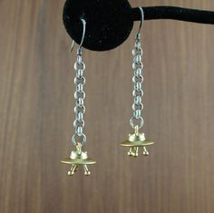 UFO earrings  Gold  Spaceship  Flying Saucer  by KLFStudio on Etsy