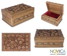 Wood Jewelry Box, 'Ivy Fantasy' at The Animal Rescue Site
