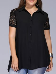 Chic Plus Size Buttoned Lace Patchwork Shirt For Women