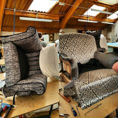 Stage 3 #armchairs nearing completion #kobe #upholstery #fabric #bespoke #design