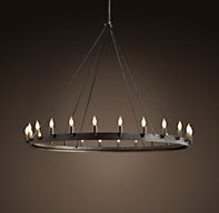 "Camino Round Chandelier Medium - need to order with extra steel rods; Dimensions: 50.25""d, 43""h"