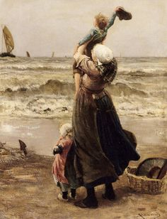 'Au Revoir': Bernardus Johannes Blommers. I love this picture, even though it makes me a little melancholy. The mother holds her young son high in the air so he can enthusiastically wave goodbye to his father, who is off to sea. The little girl silently watches at her mother's feet. Even though the ship is moving far off, the family continues to watch, and probably will until the ship has sailed out of sight.