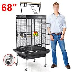 """This is now available in our store: 68"""" Large Bird Pl.... Check it out here! http://www.relguard.com/products/68-large-bird-play-top-parrot-finch-cage-macaw-cockatoo-pet-supply-3-doors?utm_campaign=social_autopilot&utm_source=pin&utm_medium=pin"""