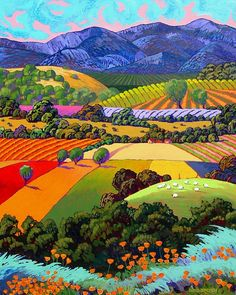 'Poppies and rolling hills' by Gene Brown US. Gene is best known for his acrylic stylized landscapes and his paintings have been reproduced on greeting cards and prints. His work hangs in private collections throughout the United Stqates and in the corporate collections. 'Маки и холмы' работа Джина Брауна США. Джин известен своими акриловыми стилизованными пейзажами его картины были воспроизведены на поздравительных открытках и принтах.  Работы Брауна находятся в частных коллекциях по всей…