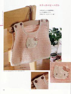 Crochet Hello Kitty Hat Bag Pattern Patterns-A Knitting For Kids, Crochet For Kids, Baby Knitting, Crochet Dress Outfits, Crochet Baby Clothes, Japanese Crochet, Hello Kitty Collection, Crochet Bebe, Crochet Books