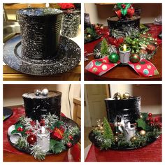 Snowman Hat's.......black spray paint, Coffee can ,plastic plate,tea light, snow in a can, and decorations.. Lid can be removed to place cookies or candy inside! Or maybe a gift. :0)
