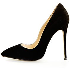 Sophie Black Suede Heeled Stiletto ($12) ❤ liked on Polyvore featuring shoes, pumps, heels, zapatos, sapatos, black, sexy black pumps, black stilettos, black heeled shoes and sexy pumps