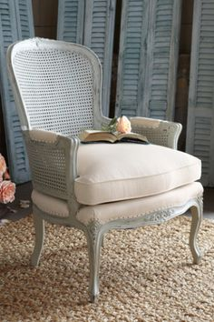 Inspired by genuine period pieces, Soft Surroundings' chaise lounges offer an elegant bedroom nook escape. Easily change the look of your bedroom lounge with our beautiful slipcovers. Add a vintage armless chair as a striking accent. Cane Furniture, Lounge Furniture, Unique Furniture, Painted Furniture, Furniture Upholstery, Rocking Chair Makeover, Bedroom Nook, Cane Back Chairs, French Country Furniture