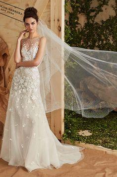 Soft flared gown with illusion neckline. Carolina Herrera Spring 2017 Bridal Collection, Bridal Fashion Week