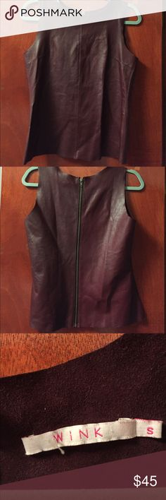 Wink Leather Top Wink Burgundy Leather top. Size small. Zips up the back. 100% lamb skin. Never worn wink Tops