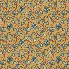 """Caswell County - Jo Morton - Andover Fabrics  A-7678-T Yellow with Blue leaves 100% Cotton  44-45"""" wide 1800's Reproduction"""