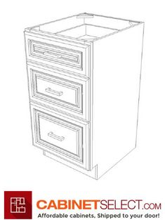 """Buy Sterling Grey Shaker Cabinets   Online RTA Cabinets   CabinetSelect CS-SG-SVA18D: Sterling Shaker 18″ Three Drawer Vanity Cabinet SKU: CS-SG-SVA18D Width: 18""""   Height: -   Depth: 21"""" List Price: $ 357.54 Our Price: $ 301.52 You Save: $56.02 - 15.67% OFF #kitchencabinets #cabinets #2020 Vanity Cabinet, Cabinet Doors, Filing Cabinet, Rta Kitchen Cabinets, Shaker Cabinets, Concealed Door Hinges, Sterling Grey, Mdf Doors, Plywood Boxes"""