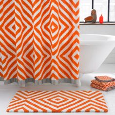 orange chevron shower curtain. A Bold Ikat Print In Orange And White Pops On The Jonathan Adler Arcade Shower  Curtain This Luxe Cotton Duck Canvas Curtain Easily Updates Any Bathroom Master Inspiration Love Chevron Shower With