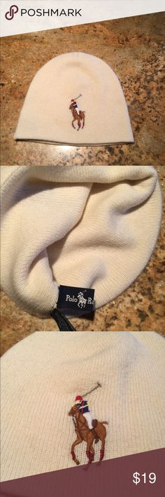 Ralph Lauren Polo Beanie Ralph Lauren Polo Beanie, cream color with embroidered polo logo. Preowned in very good condition! Polo by Ralph Lauren Accessories Hats