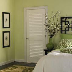 Plantation Smooth Full Louver Solid Core Primed Composite Single Prehung  Interior Door, Primed White