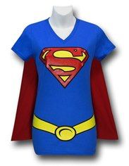 Supergirl Women's V-Neck Caped Costume T-Shirt For Christy