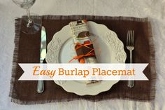 Love this easy #DIY burlap placemat and napkin ring for a Thanksgiving table setting from @Camille Gabel! #turkeytablescapes