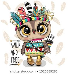 Cute Cartoon tribal Owl with feathers on a white background Cute Owl Drawing, Cute Drawings, Cute Owl Cartoon, Lapin Art, Owl Feather, Bullet Journal Cover Ideas, Owl Pictures, Owl Art, Animal Drawings
