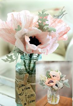 Craftberry Bush: Crepe Anemone flower tutorial and craft paper anemones and dusty miller leaves