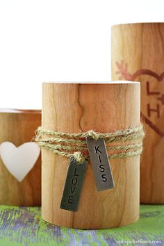 Faux Wood Candle Valentine's Day Candle DIY