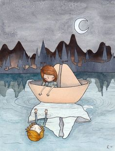 Come With Me - A4 print - paper boat boy girl reflections water lake whimsy dreamy blue stars moon crescent ripple forest silhouette love on Etsy, $35.00 AUD