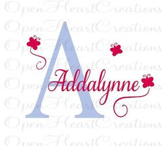 Small Personalized Vinyl Wall Decal - Butterfly Decals with Monogram - Initial and Name Wall Transfer 16H x 28W INA0017 on Etsy, $32.00
