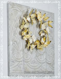 French Script Butterfly Wreath - Town & Country Living