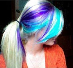 Hair Chalk: Thinking of hopping on the street style trend of green, purple, and blue streaked hair? Description from pinterest.com. I searched for this on bing.com/images