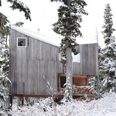 The partners of new Vancouver studio Scott & Scott Architects created this remote snowboarding cabin for their own use at the northern end of Vancouver Island.