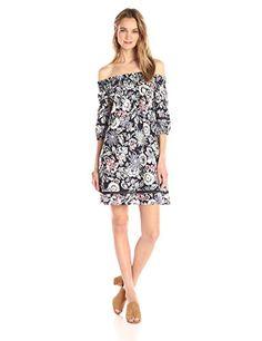 5477623b4d03ac Ella Moon Women's Malayna 3/4 Sleeve Smocked Off the Shoulder Shift Dress,  Dark