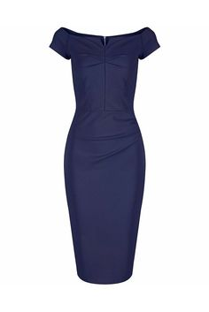 Navy Blue Notch Neck Cap Sleeve Bodycon Pencil Dress