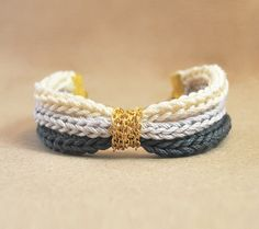 Gray ombre bracelet with gold plated chain, knit bracelet from cotton