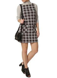 Dorothy Perkins Petite red check pocket pinafore dress- at Debenhams.com