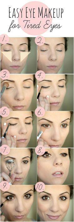 Looking tired? Check out this EASY Eye Makeup for Tired Eyes tutorial to brighten up those dark circles! Under Eye Makeup, Simple Eye Makeup, Natural Makeup, Simple Eyeshadow Looks, Simple Makeup For Teens, Diy Makeup, Eye Makeup Tips, Beauty Makeup, Makeup Ideas