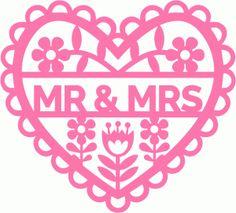 Silhouette Design Store - View Design #60584: retro flowers fretwork heart mr and mrs