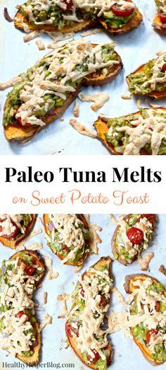 Paleo Tuna Melts on Sweet Potato Toast [gluten-free and dairy-free] Healthy Helper Sweet Potato Slices, Sweet Potato Toast, Clean Eating Snacks, Healthy Eating, Healthy Fats, Healthy Cooking, Healthy Snacks, Paleo Dinner, Dinner Recipes