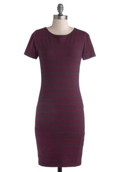 Nautical Dress in Navy and Red - Red, Blue, Stripes, Casual, Nautical, Sheath / Shift, Short Sleeves, Good, Crew, Mid-length, Cotton