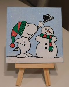 This cute little Canvas painting shows Snoopy in the Snow building a snowman. Painting: Acrylic on Canvas Shipping USA wide free! Mini-Easel NOT INCLUDED. Small Canvas Paintings, Easy Canvas Art, Small Canvas Art, Cute Paintings, Easy Canvas Painting, Mini Canvas Art, Winter Painting, Canvas Ideas, Easy Christmas Drawings