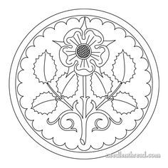 Here's a free hand embroidery pattern of a stylized Tudor rose for your stitching pleasure! It would work well for other crafts, too!