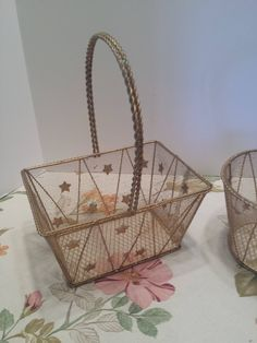 Gold Wire Basket for Wedding or Decor - Flower Girl Basket - Metal Wire Mesh Basket - Rectangle Basket