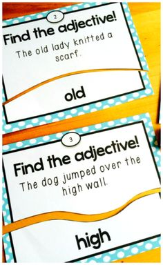 Adjectives task card puzzles - free! These adjectives task cards are self-correcting puzzles. Perfect for literacy centers or ELA test prep.