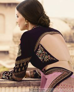 Wine Purple Rabari Style Back Stringed Blouse Design Blouse Neck Designs, Blouse Styles, Indian Designer Outfits, Designer Clothing, Designer Blouse Patterns, Sari Blouse, Indian Clothes, Indian Dresses, Lehenga Choli