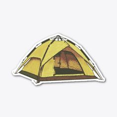 Show off your grit with this tent sticker. Add it to your collection of outdoor adventure stickers to enjoy when you're not sleeping on the ground. Printable Stickers, Cute Stickers, How To Make Stickers, Outdoor Stickers, Tent Camping, Outdoor Gear, Holi, Diy And Crafts, Mad