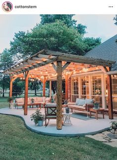The pergola you choose will probably set the tone for your outdoor living space, so you will want to choose a pergola that matches your personal style as closely as possible. The style and design of your PerGola are based on personal Backyard Patio Designs, Backyard Landscaping, Landscaping Ideas, Backyard Pergola, Backyard Porch Ideas, Backyard Covered Patios, Patio Ideas Country, Backyard Projects, Patio Oasis Ideas