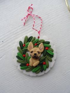 French Bulldog ornie by Raquel at the WRC hand sculpted polymer clay ORNAMENT Pet dog Lover
