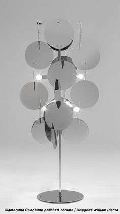 Glamorama floor lamp polished chrome   Nahoor   Designer William Pianta