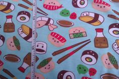 Kawaii Sushi Cotton Lycra Knit Fabric. by funkaliciousfabrics, $15.00