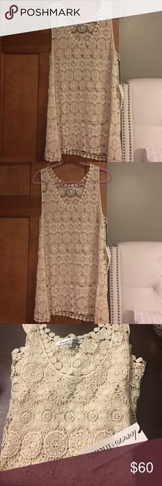 NWT Lovers + Friends crocheted tunic size large NWT Lovers + Friends crocheted tunic can we worn as a cover up or over shorts sooo CUTE purchased from Revolve size large Lovers + Friends Tops Tunics